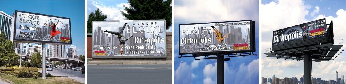 Redesigned Cirque Eloize Cirkopolis Admats for Billboards. Pinebee Creative