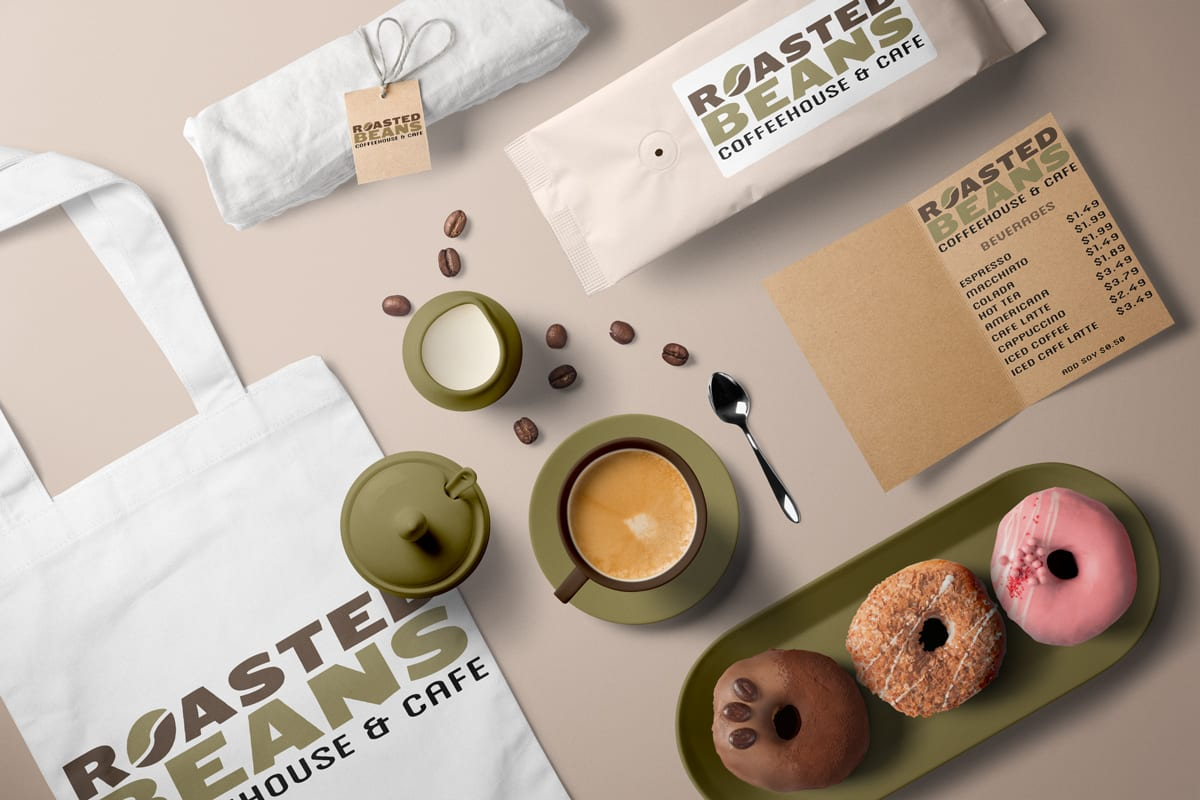 Scene with Latte, Donuts and other promotional items with logo for coffeehouse