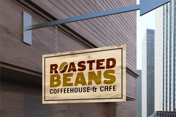 Coffee Shop Logo on Signboard