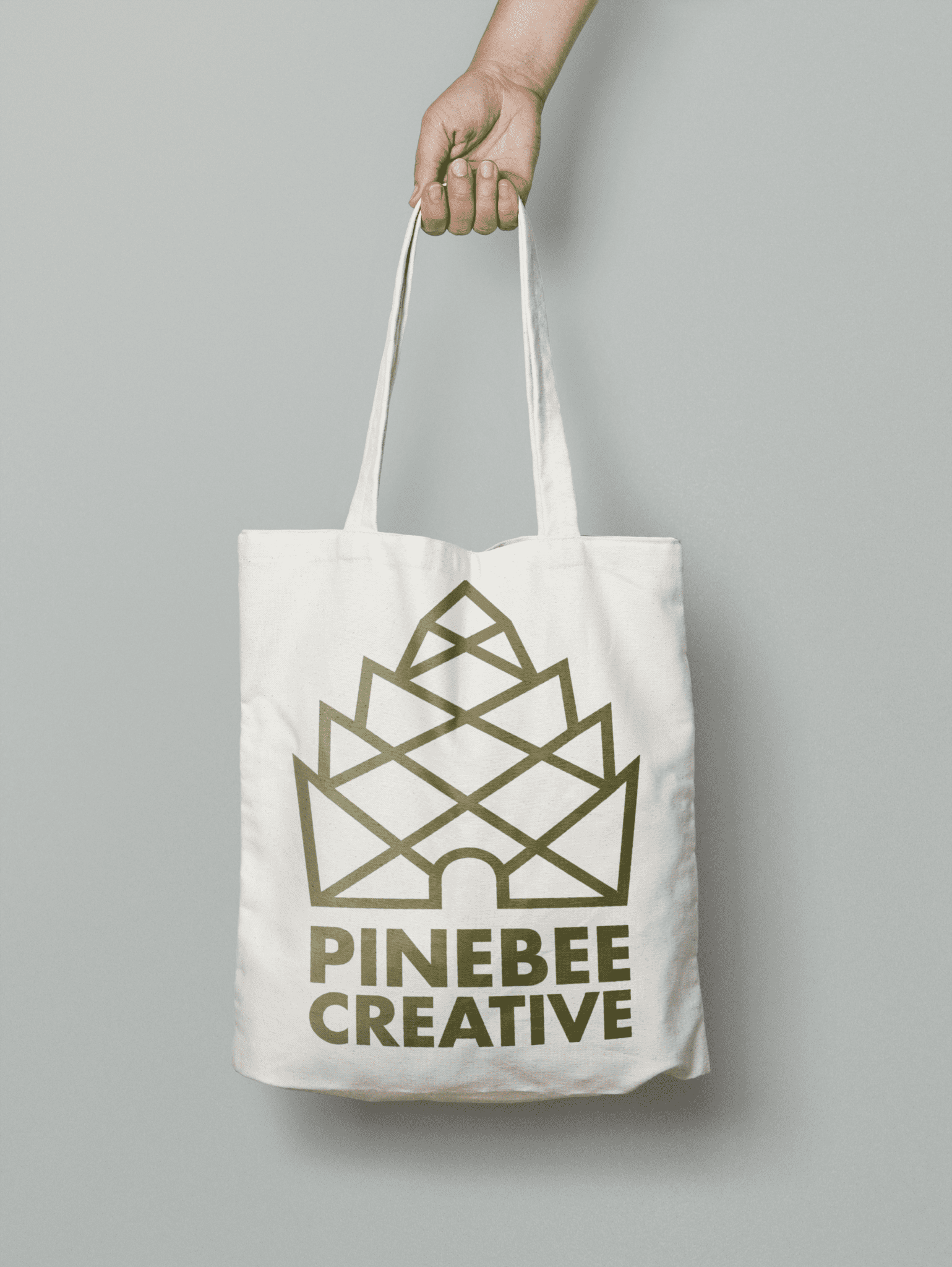 Promotional Canvas Tote Bag with Pinebee Creative Logo
